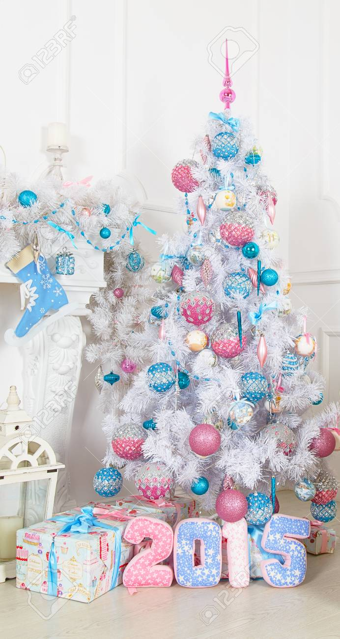 White Fir Tree With Pink And Blue Christmas Toys Stock Photo Picture And Royalty Free Image Image 47747733
