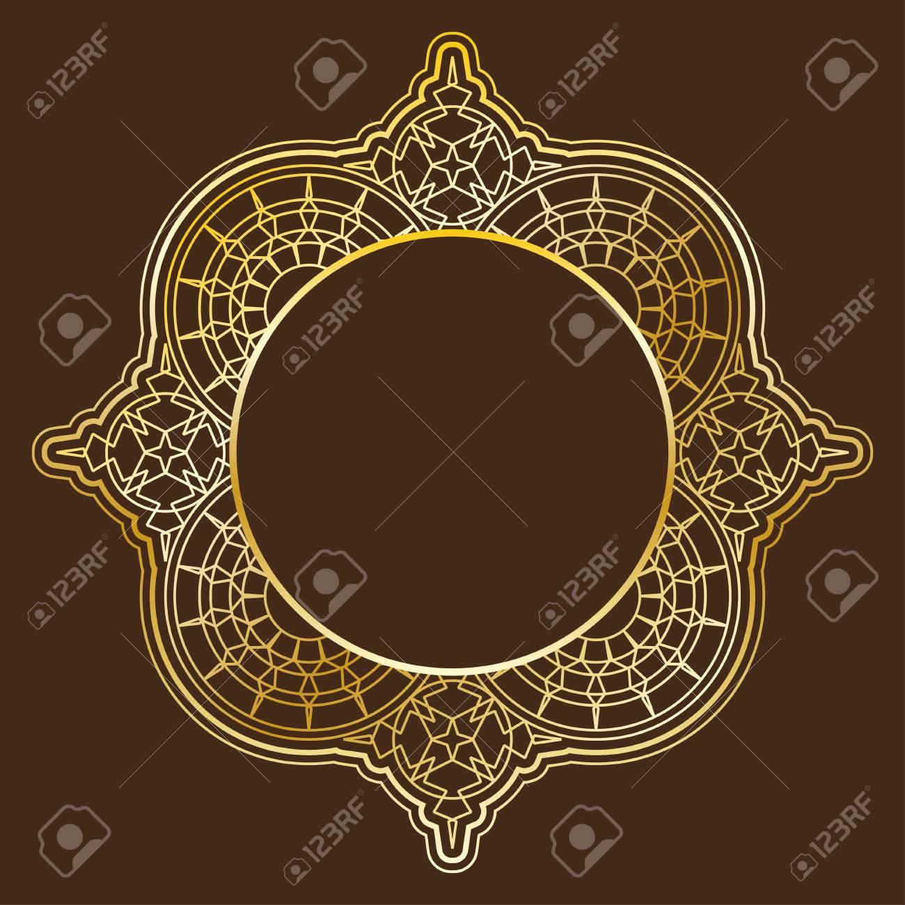 Vector Círculo Lineal Marco. Arco Geométrica Elemento De Oro ...