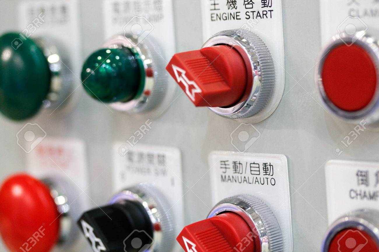 Switches And Buttons On Control Panel Of Industrial Equipment ...