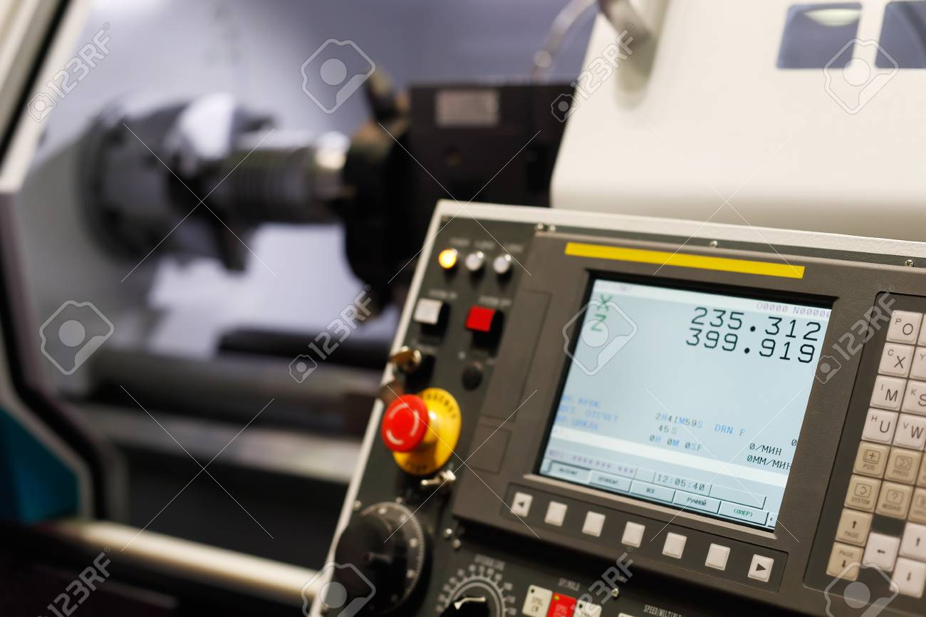 Control panel of the lathe machine with computer numerical control