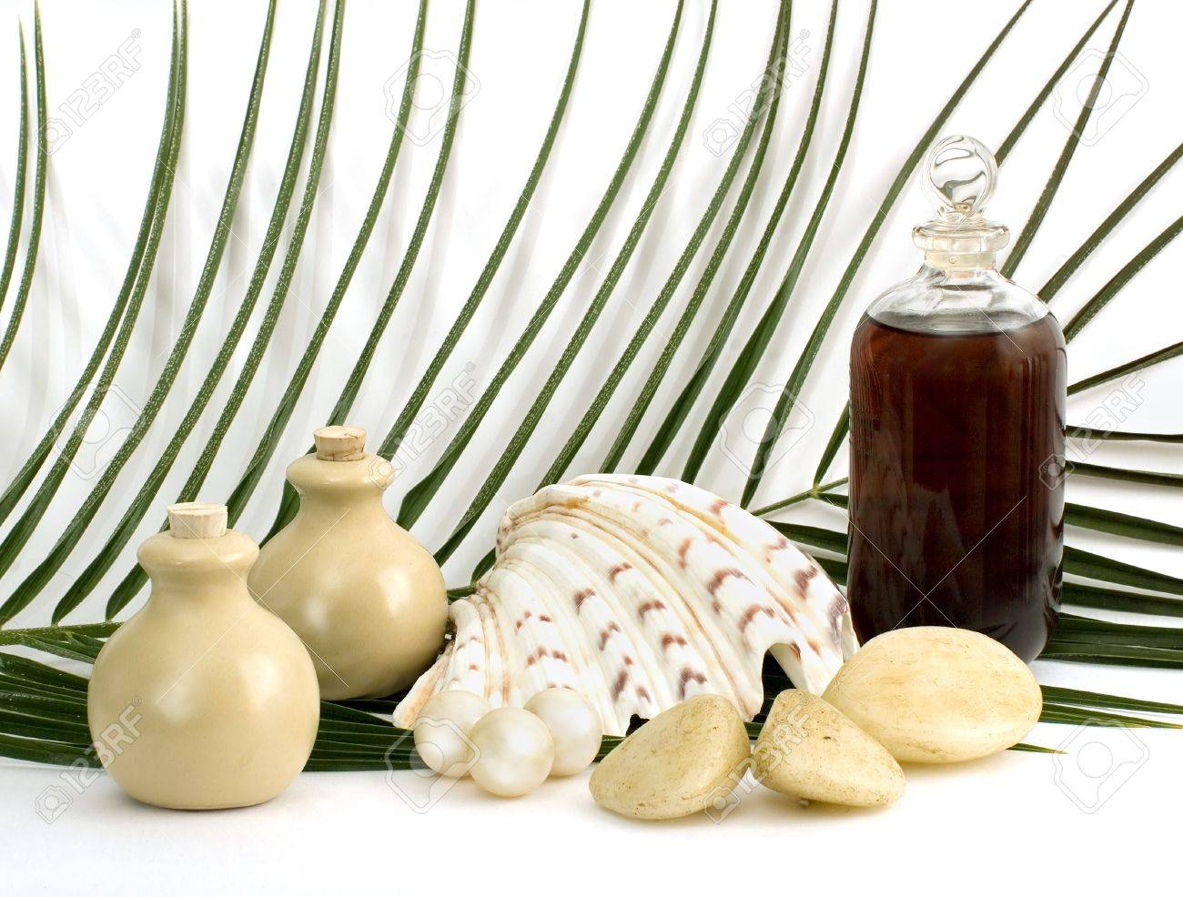 Objects for massage and aromatherapy on white background Stock Photo - 2414513
