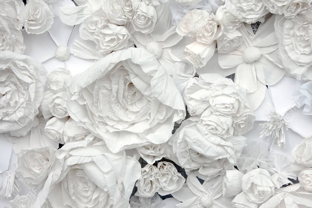 Decorative background from white paper flowers of a paper mache decorative background from white paper flowers of a paper mache stock photo 43832582 mightylinksfo