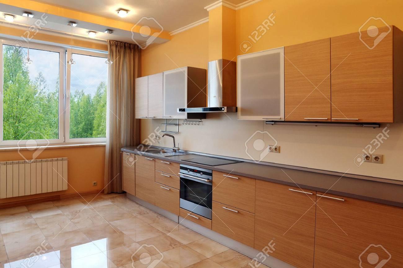 Dorable Pared De Acento De Color Naranja En La Cocina Patrón - Ideas ...