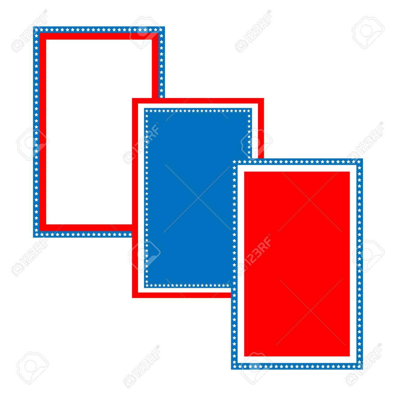 Barras Y Estrellas Patrióticas Azul Y Rojo De Diseño Del Marco De ...