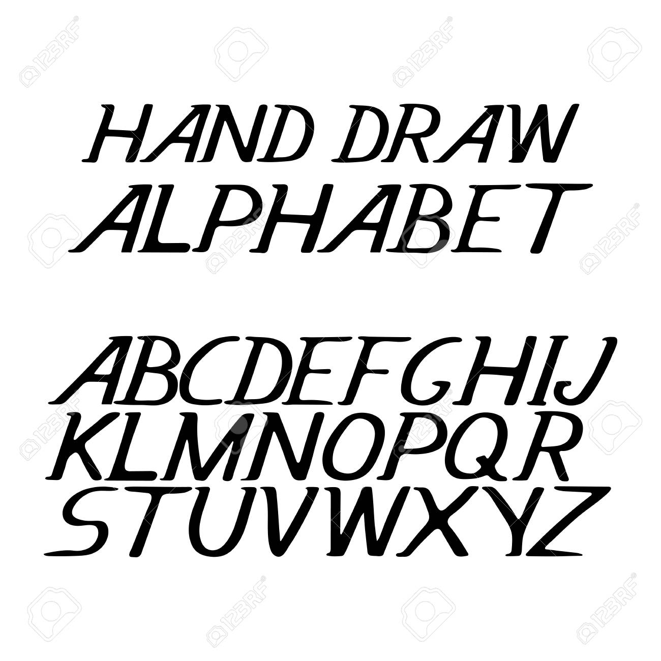 hand draw alphabet letters under the classical bias, to design