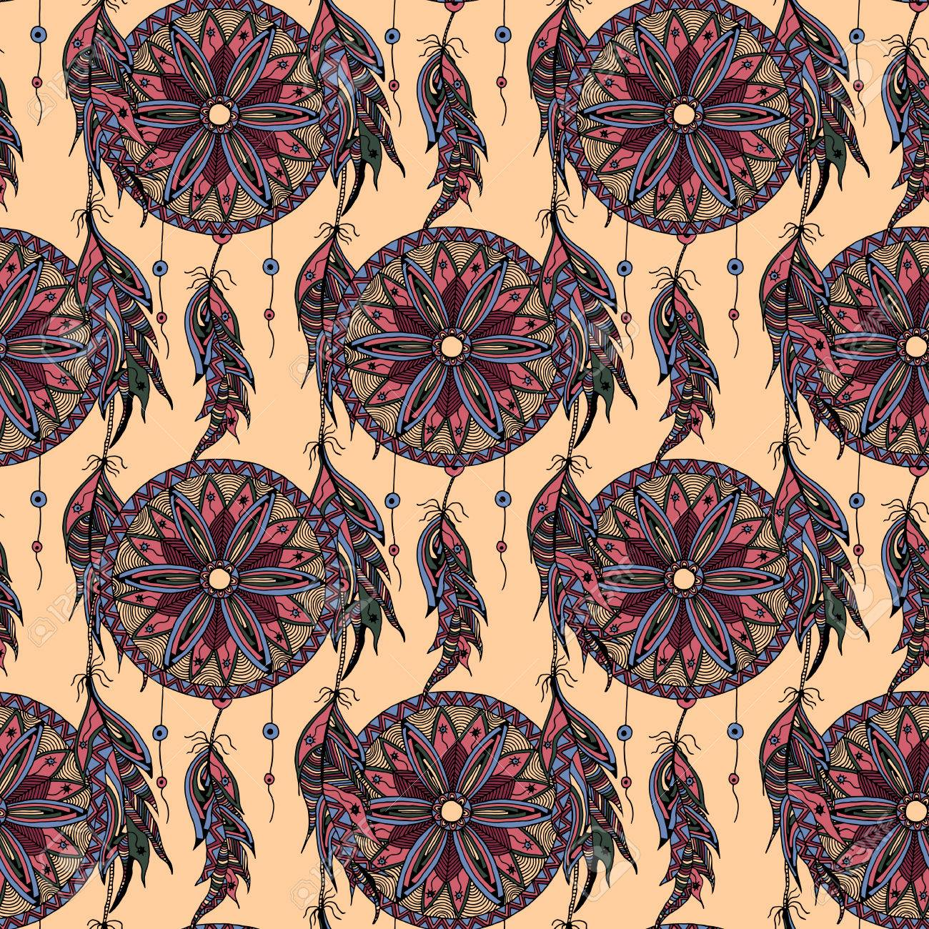 Color art dreamcatcher - Color Seamless Pattern Dream Catcher With Feathers Style Zentangle And Doodle Hand Drawn Can Be Used