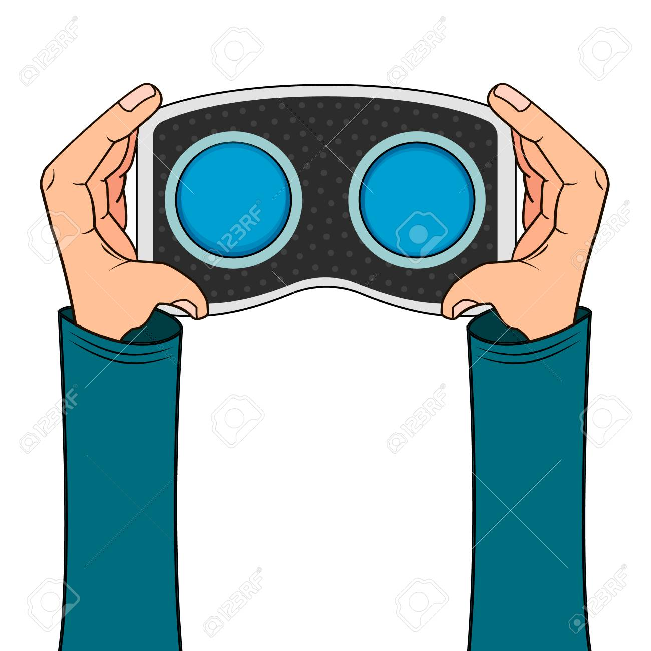 VR headset in hand icon isolated on white background in cartoon