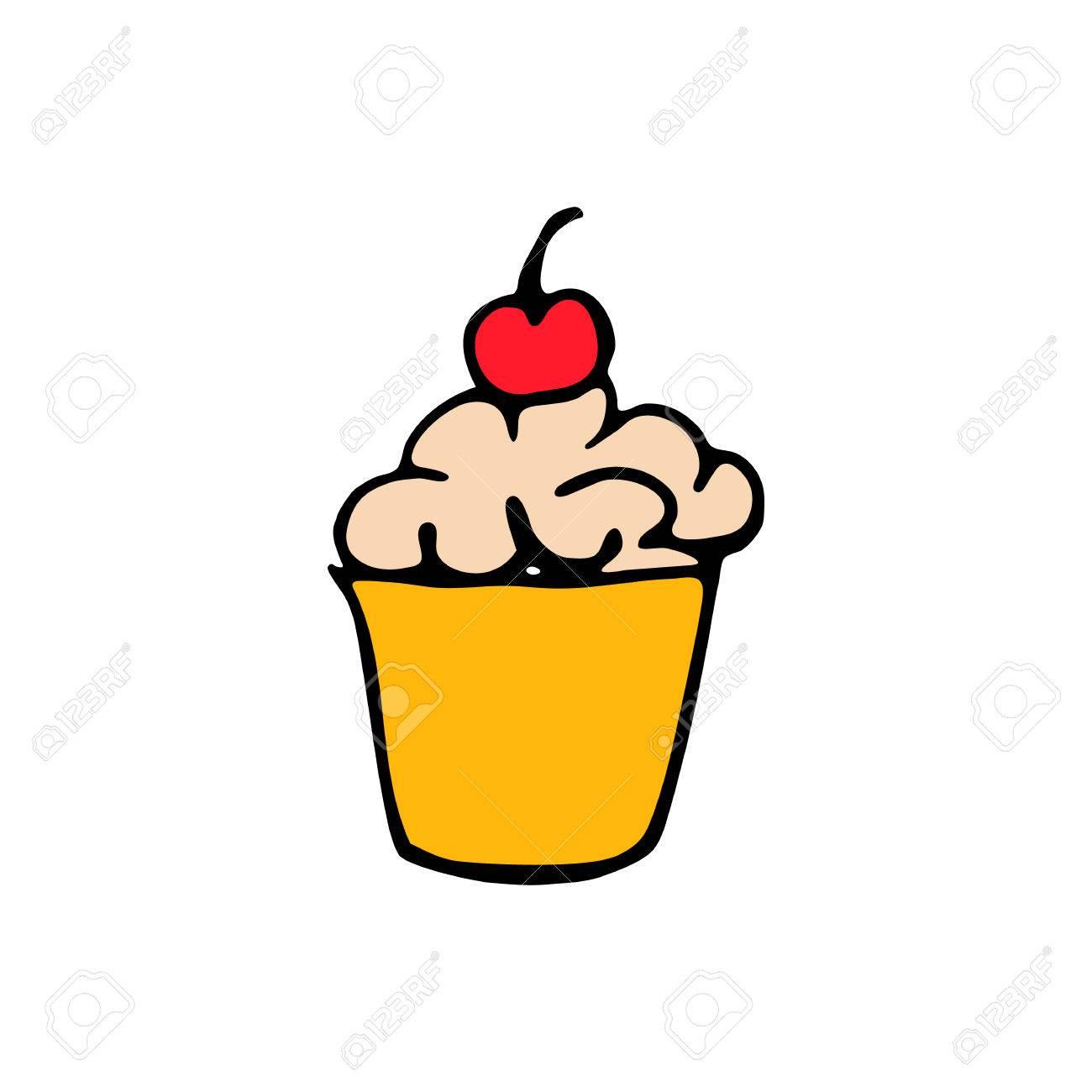 Kuchen Symbol Auf Weissem Hintergrund Im Stil Hand Zeichnen