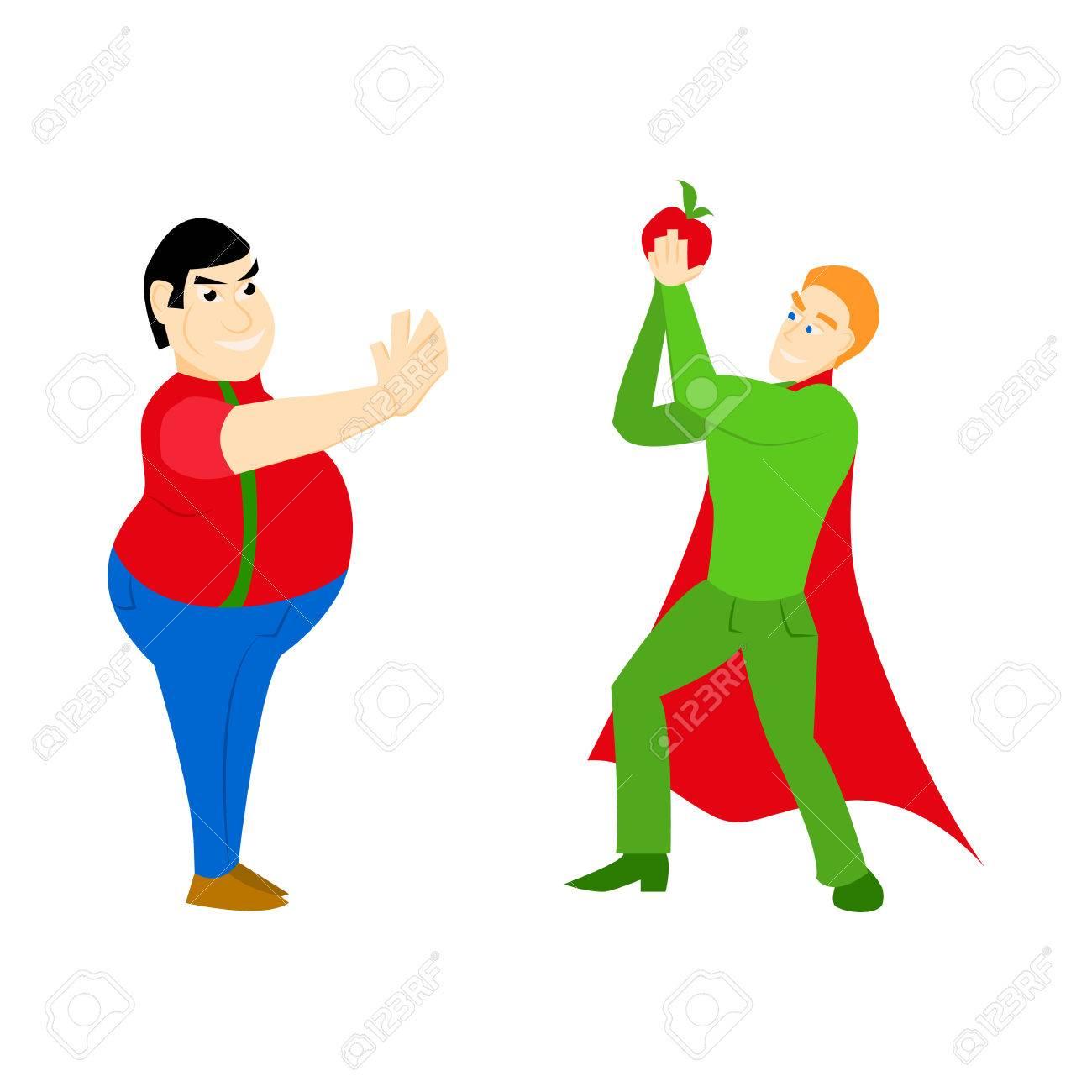 Superhéroe Alimentación Saludable Atlética Con Una Manzana Y Un