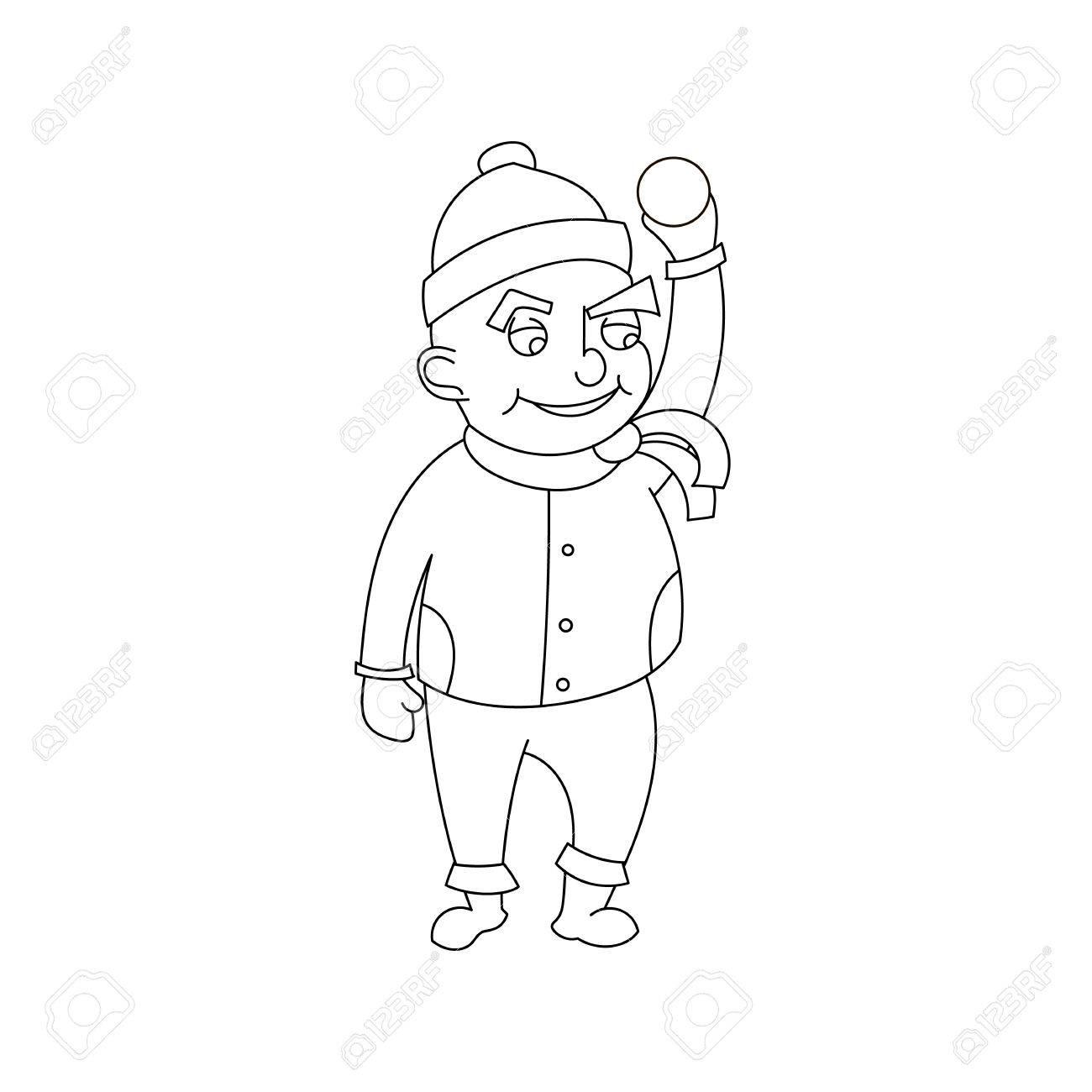 Niño Pequeño En Ropa De Invierno, Estilo De Dibujos Animados Aislado ...