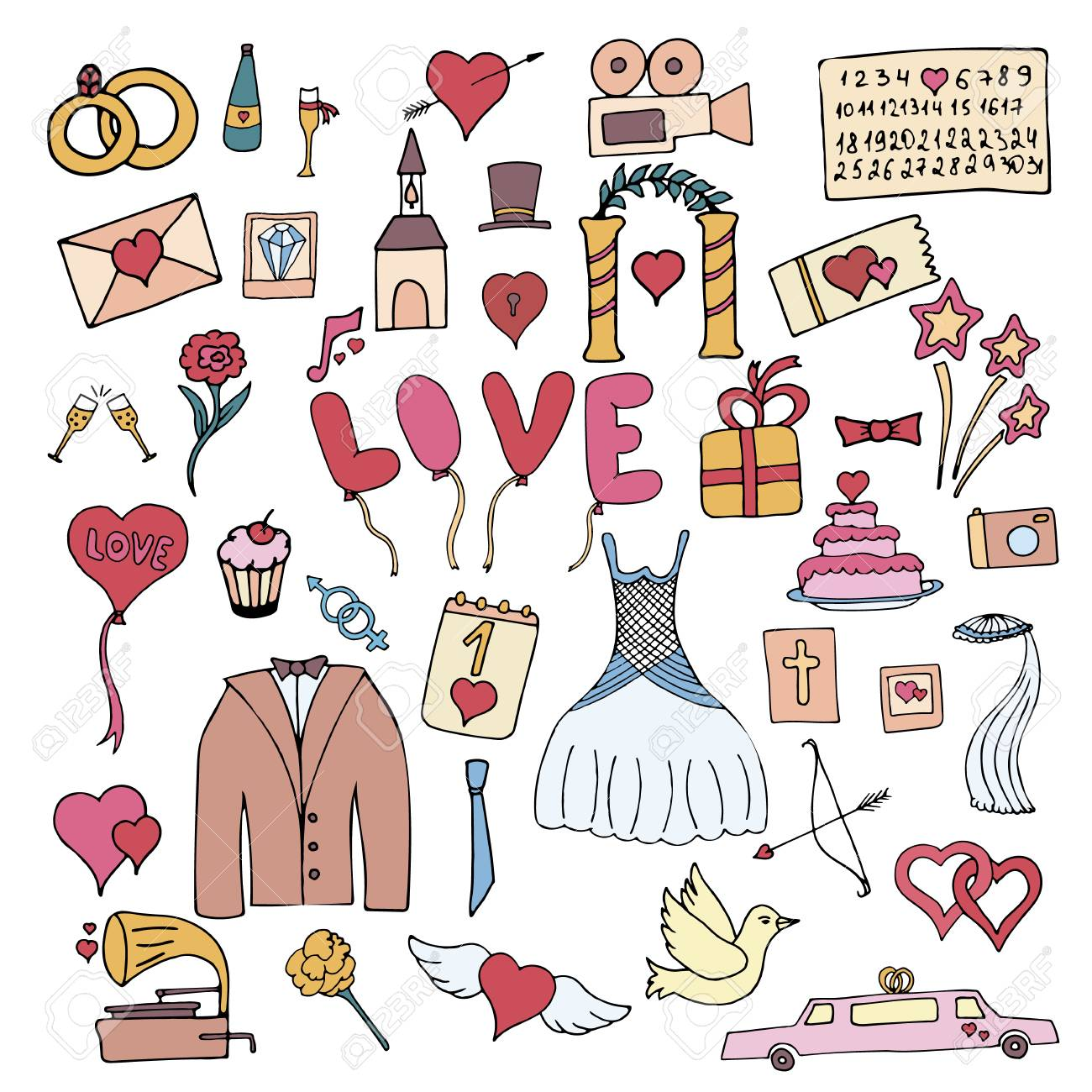 Colorful Hand Drawn Doodle Cartoon Wedding Set Icon Objects