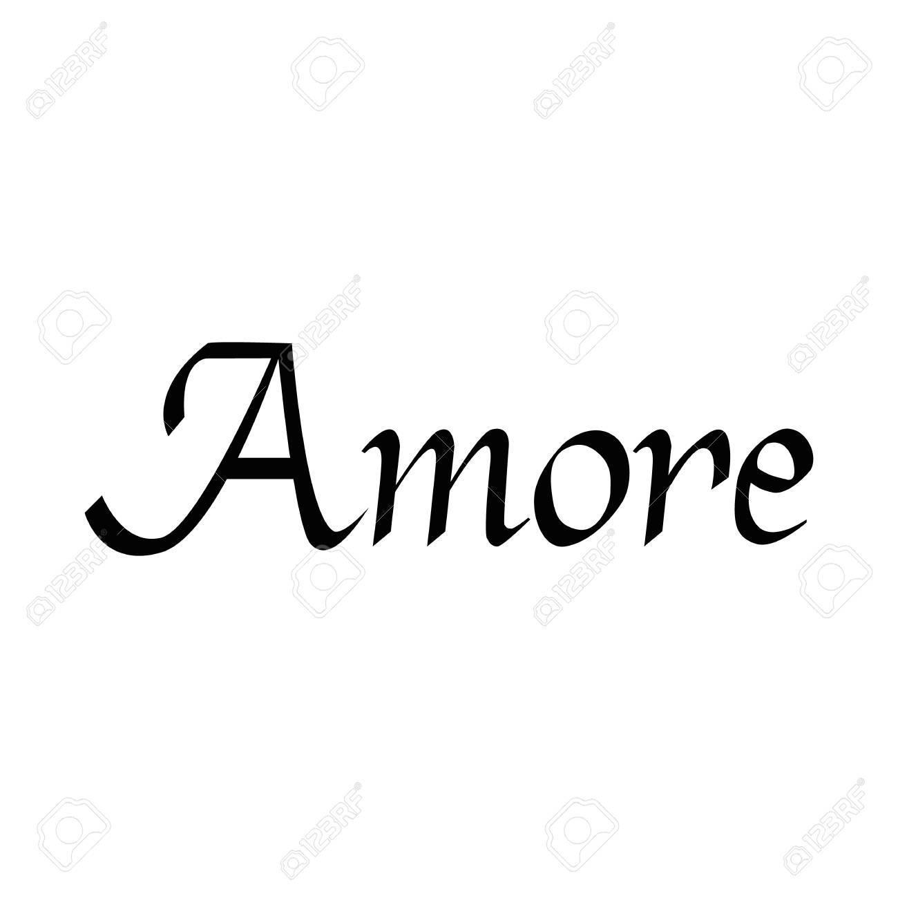 Amore Frase Dibujada A Mano Amor En Italiano Letras Para El Dia De