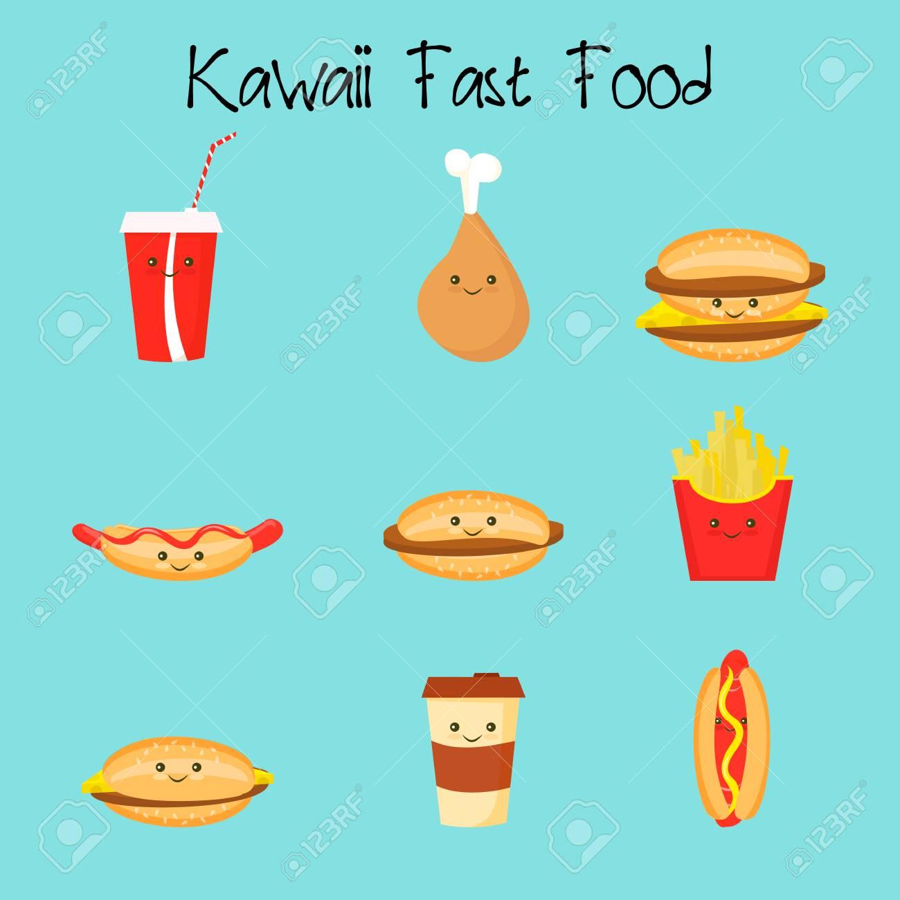 Pomme De Terre De Dessin Anime Cheeseburger Hamburger Poulet Hot Dogs De Cafe Kawaii Fastfood Clip Art Libres De Droits Vecteurs Et Illustration Image 73428885