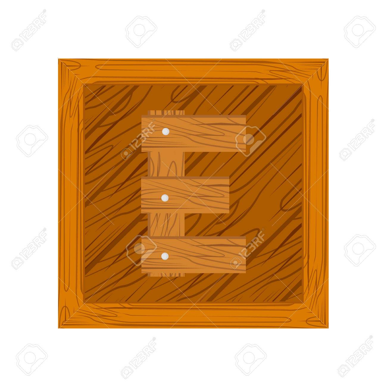Wooden Block Alphabet E Letter Icon Isolated On White Background