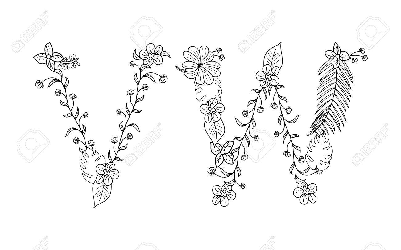 Tropical floral summer pattern hand drawn ornamental font set letter vw tropical floral summer pattern hand drawn ornamental font set with palm beach leaves flower altavistaventures Choice Image