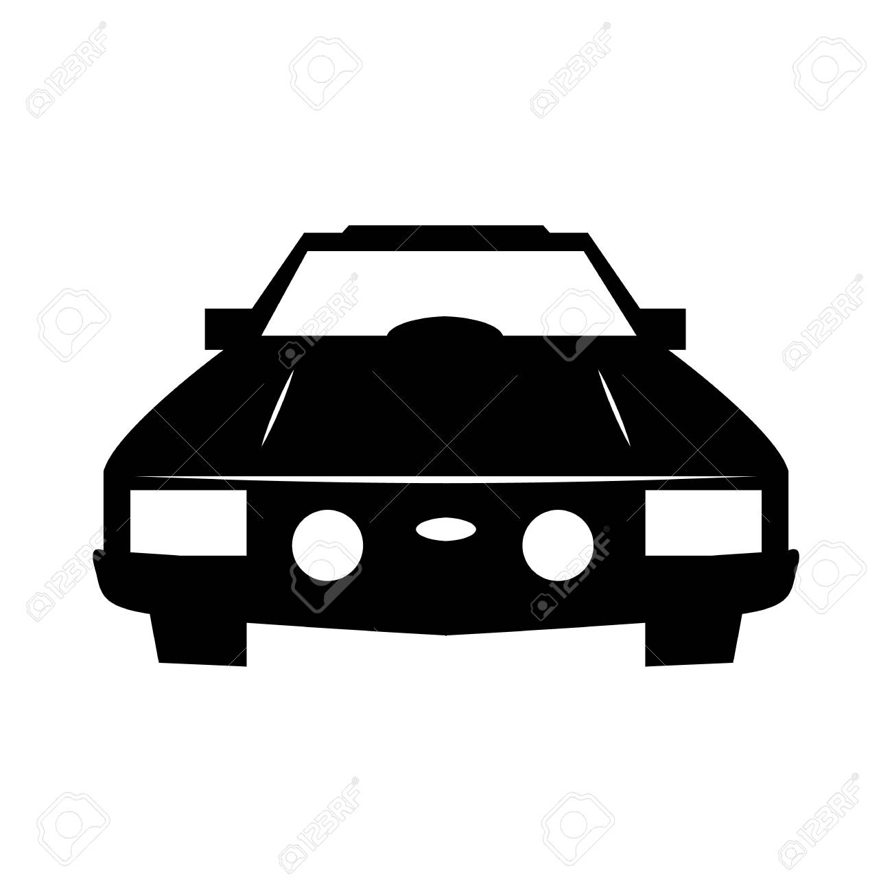 Luxury Car Sedan Or Performance Car Front View Flat Icon For