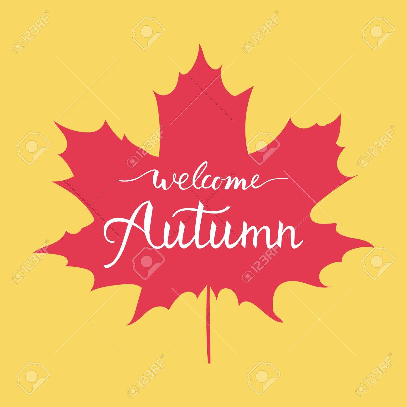 Welcome autumn hand lettering greeting card design element with welcome autumn hand lettering greeting card design element with maple leaves stock vector 87218637 kristyandbryce Choice Image