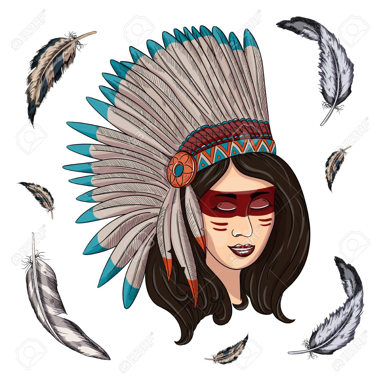 illustration of a beautiful American Indian woman with braided hair - 144518924
