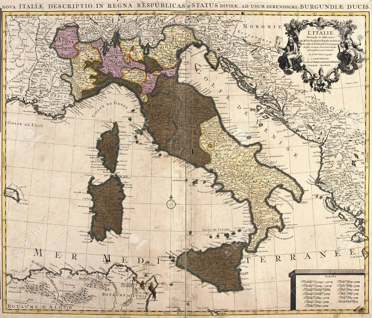 Old map of italy with corsica and sardinia stock photo picture and old map of italy with corsica and sardinia stock photo 42101437 gumiabroncs Choice Image