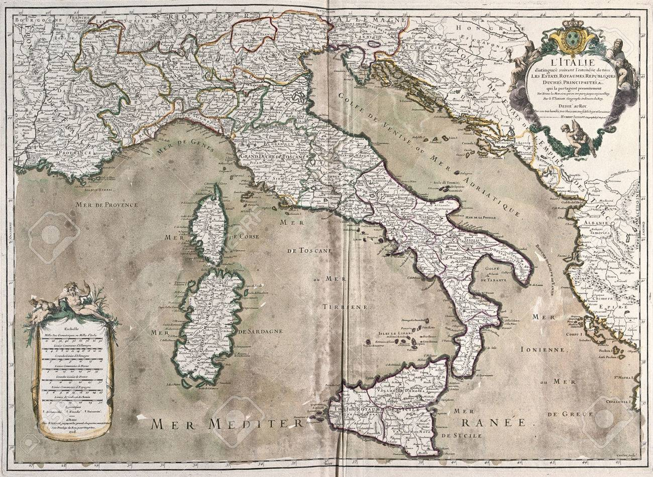 Old map of italy with corsica and sardinia stock photo picture and old map of italy with corsica and sardinia stock photo 42101438 gumiabroncs Choice Image