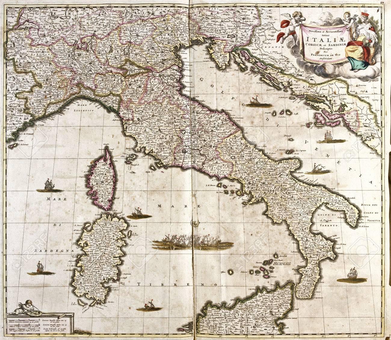 Mapa Corcega Y Cerdeña.El Viejo Mapa De Italia Con Corcega Y Cerdena