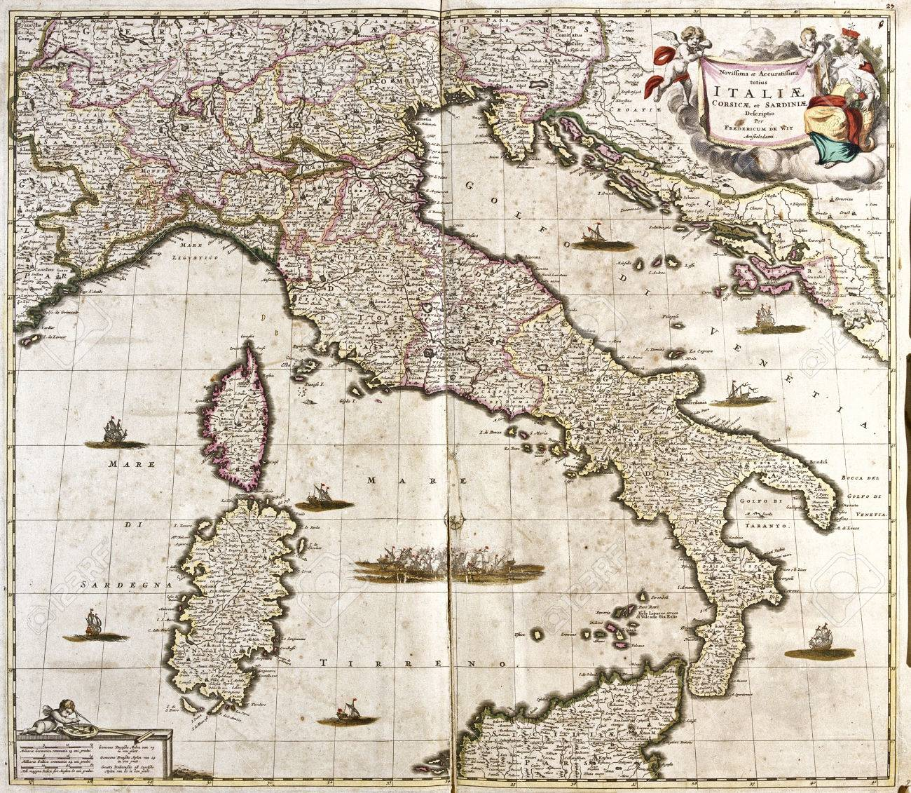 Old map of italy with corsica and sardinia stock photo picture and old map of italy with corsica and sardinia stock photo 42101441 gumiabroncs Choice Image