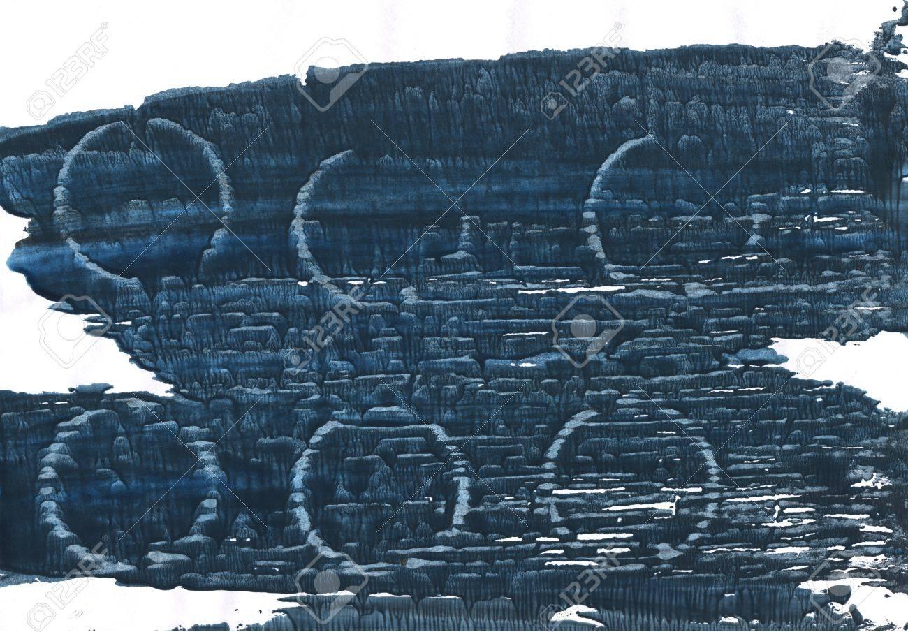 Couleur Gris Bleu Foncé aquarelle abstraite dessinée à la main. couleurs utilisées: indigo  japonais, blanc, bleu yankees, gunmetal, bleu métallisé, gris ardoise  foncé,