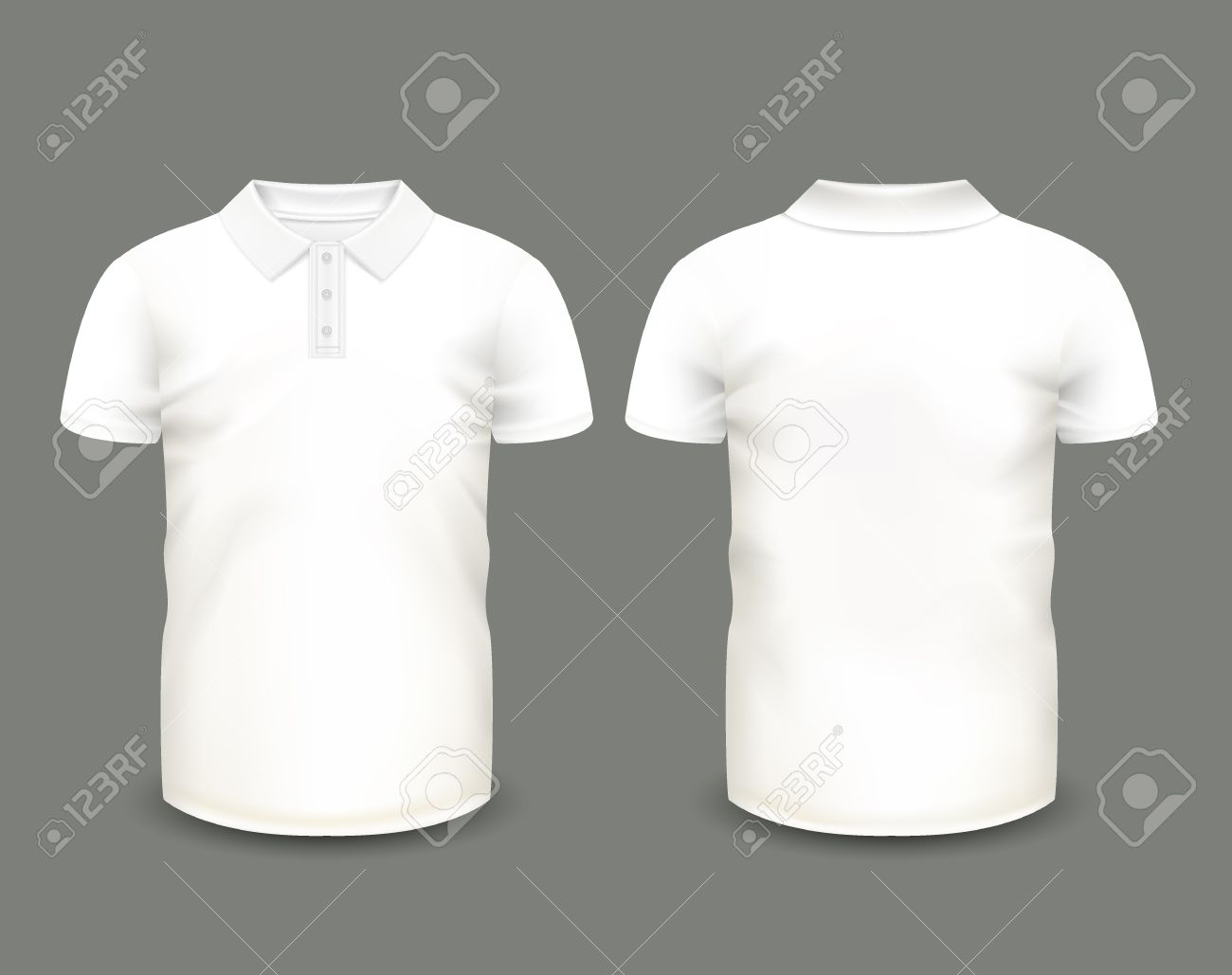Men's white polo shirt short sleeve in front and back views...