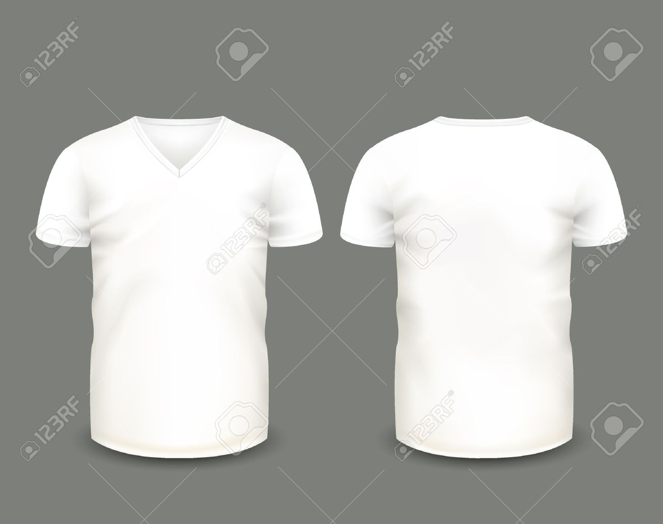2011fd6f0 Men's White V-neck T-shirt Short Sleeve In Front And Back Views ...