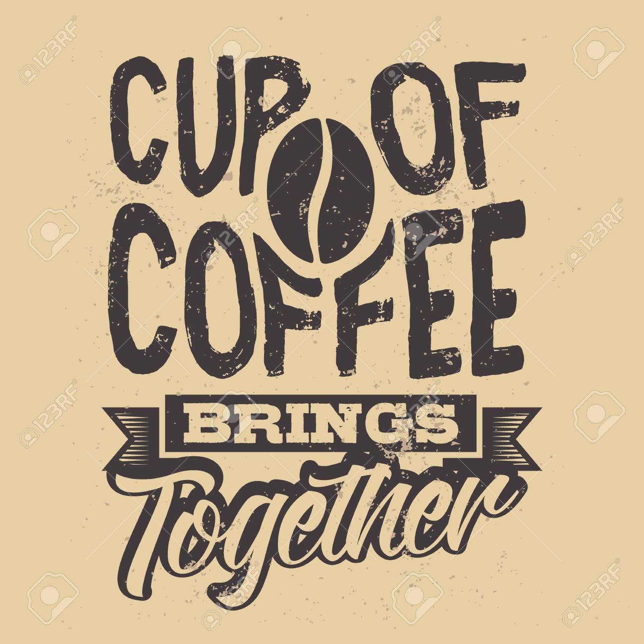Étonnant Affiche Avec Un Slogan De Café Dessiné à La Main. Illustration OL-02