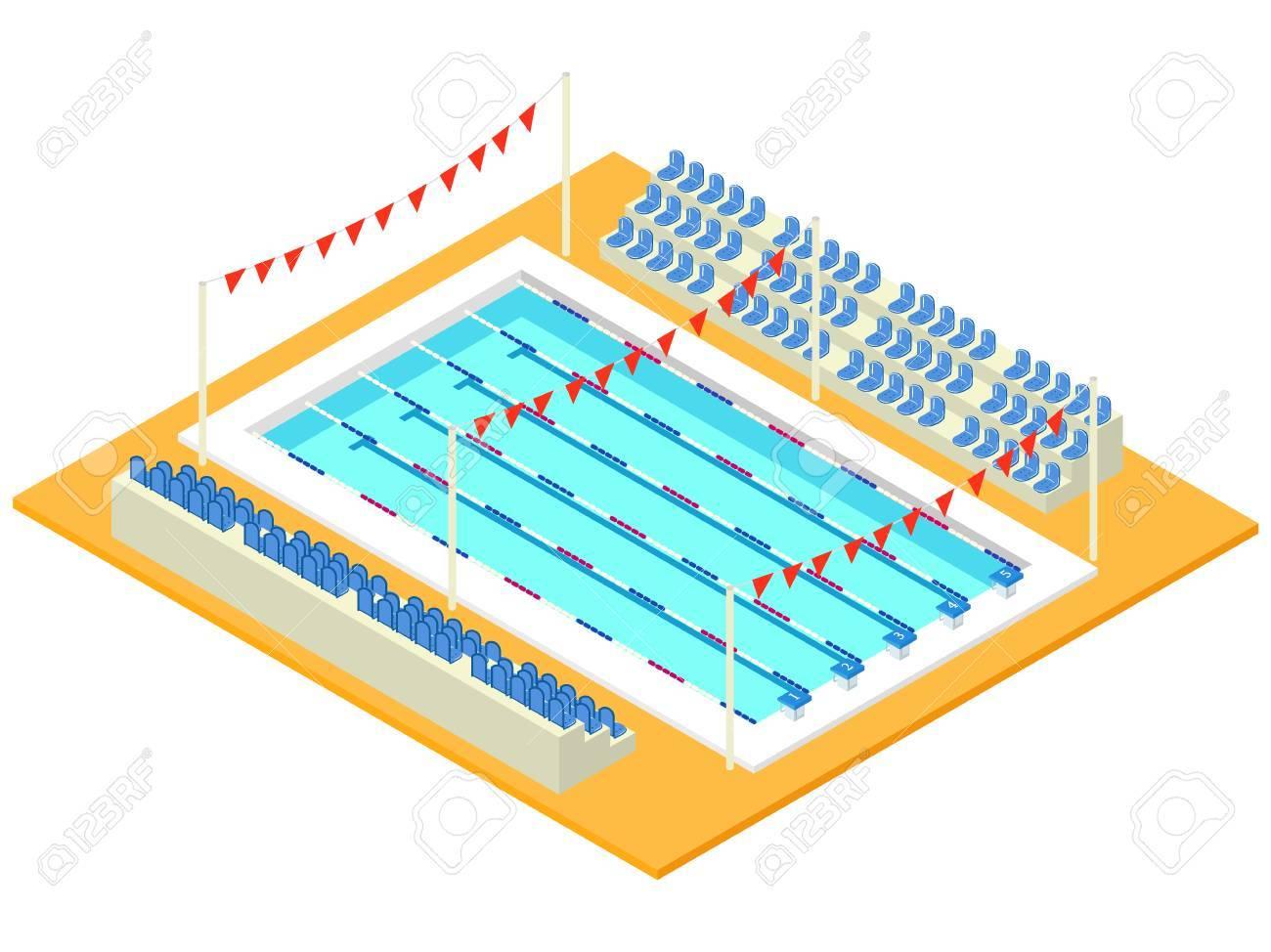 Piscine Sportive Isométrique Réaliste Illustration Vectorielle Créative 3d Avec Bassin Drapeaux Et Tribune Conception En Perspective Utilisée