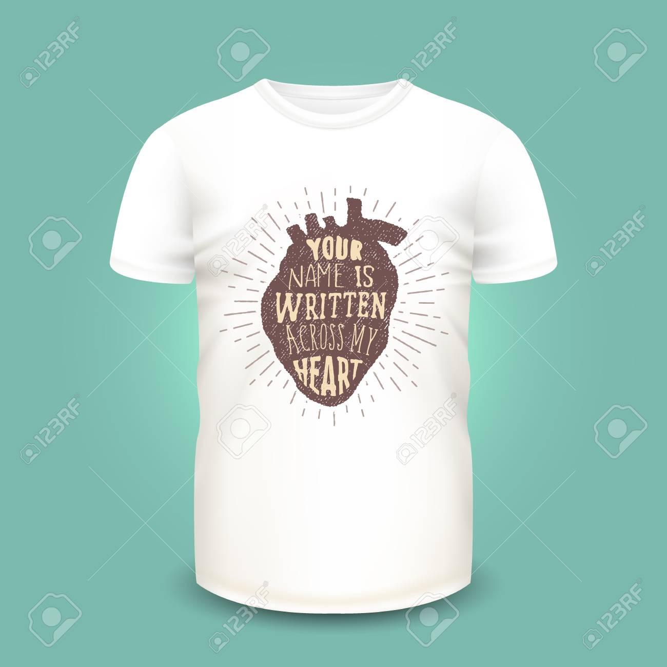 Diseño De Impresión De Camiseta Con Silueta De Corazón Humano Y ...
