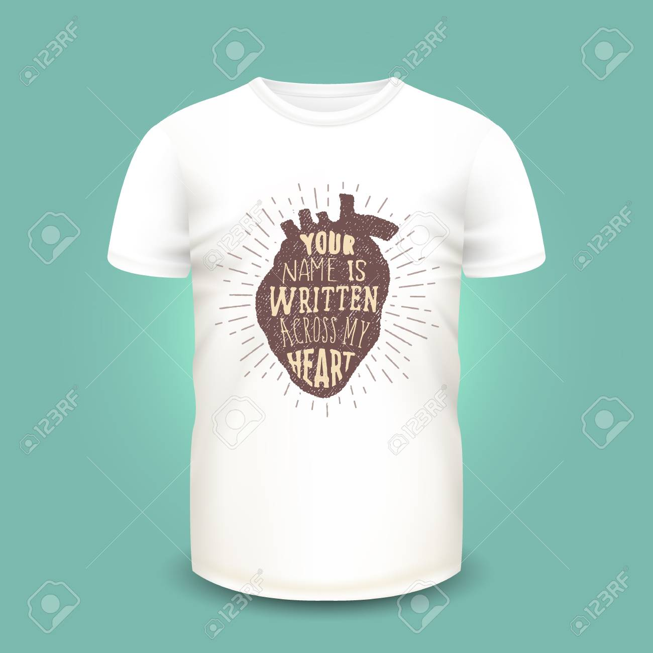 T Shirt Print Design With Human Heart Silhouette And Lettering