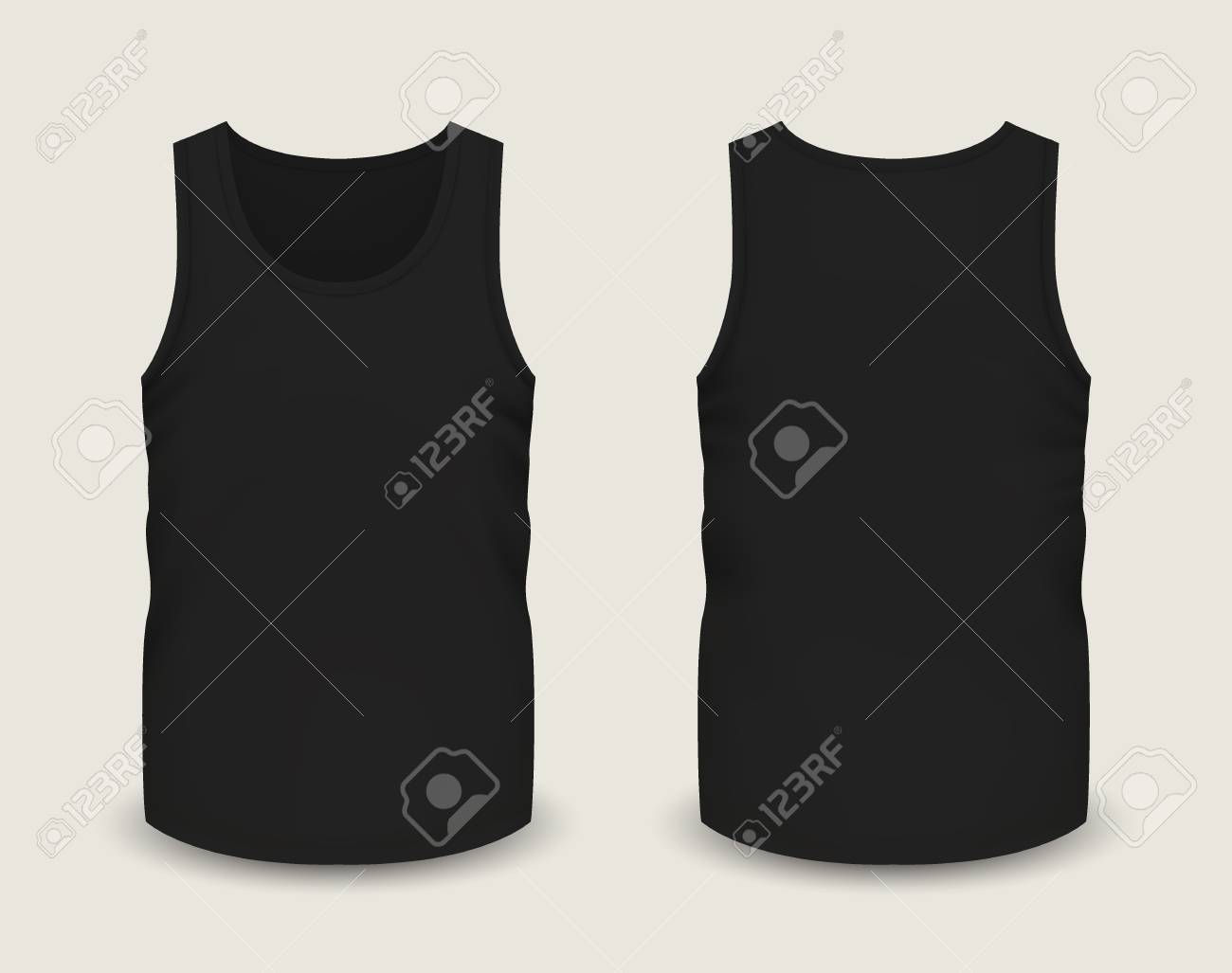 d6afdea80e5ac Mens black sleeveless tank in front and back views. Vector illustration  with realistic male shirt