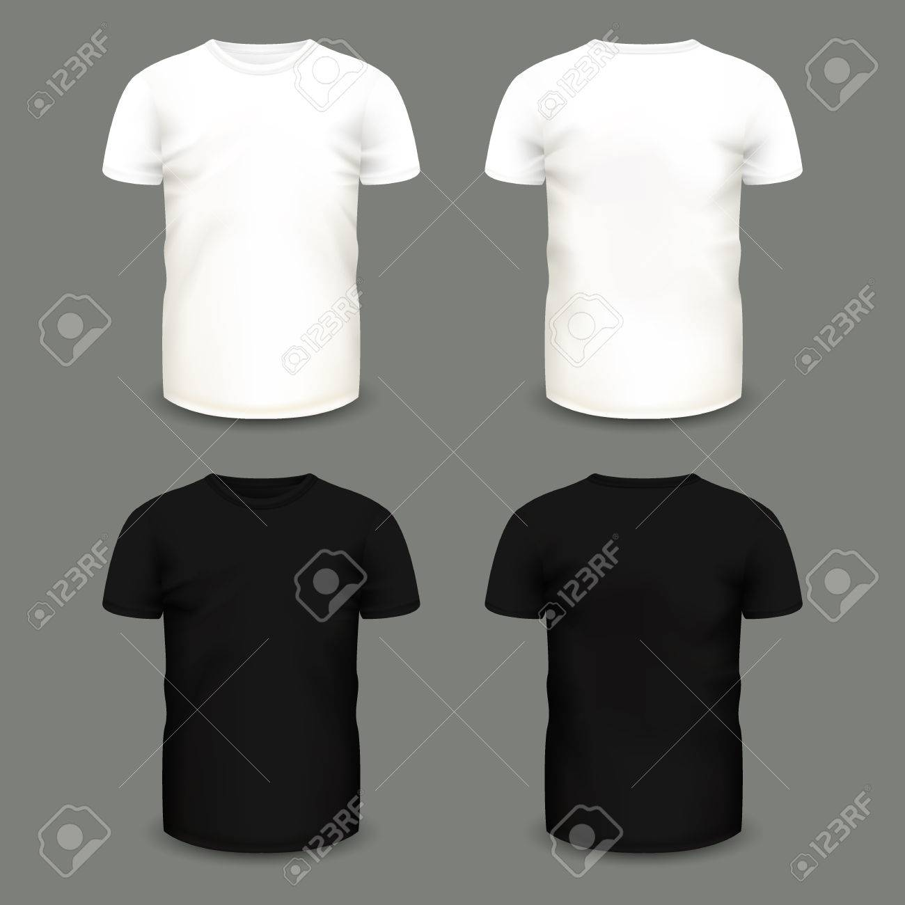 set of mens white and black t shirts in front and back views