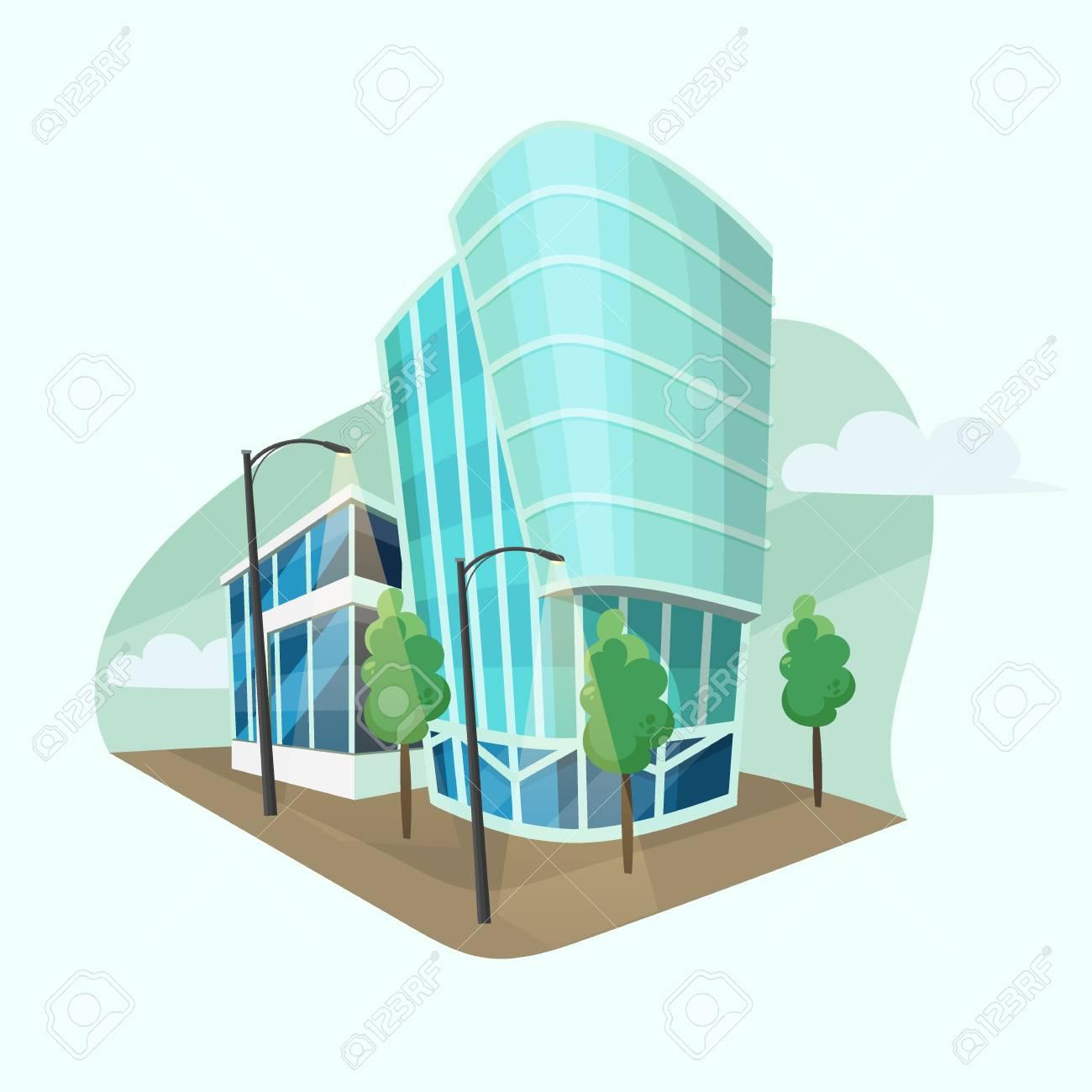 Modern Office Buildings Vector Cartoon Style Flat Design Of