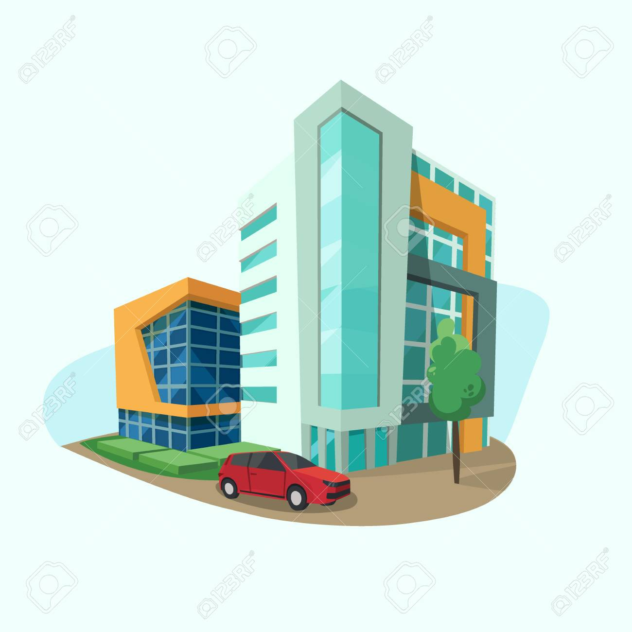 Cityscape Icon With Modern Shopping Center Office Space And