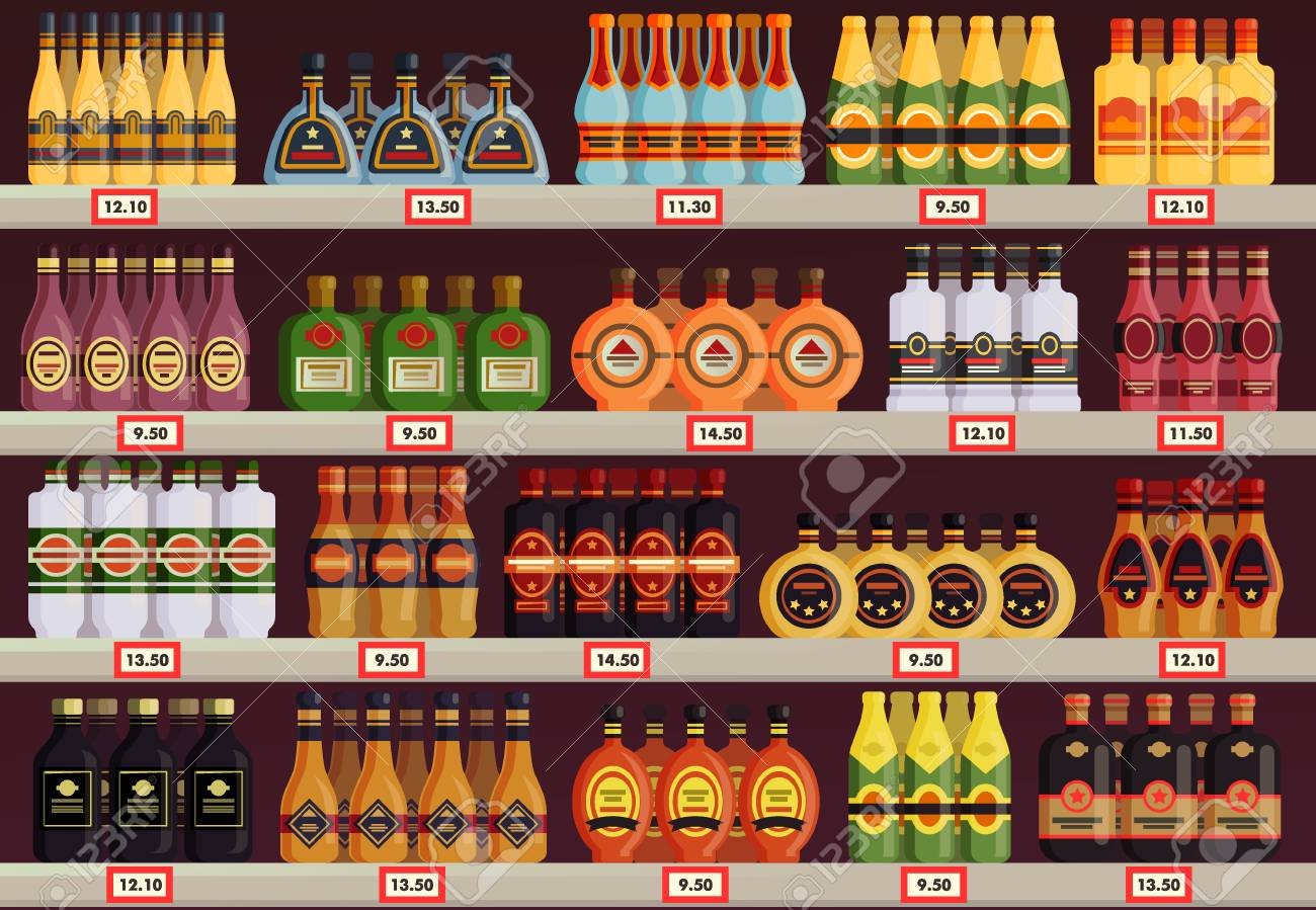 Pub or tavern, alcohol shop or store stall vector image - 96214795
