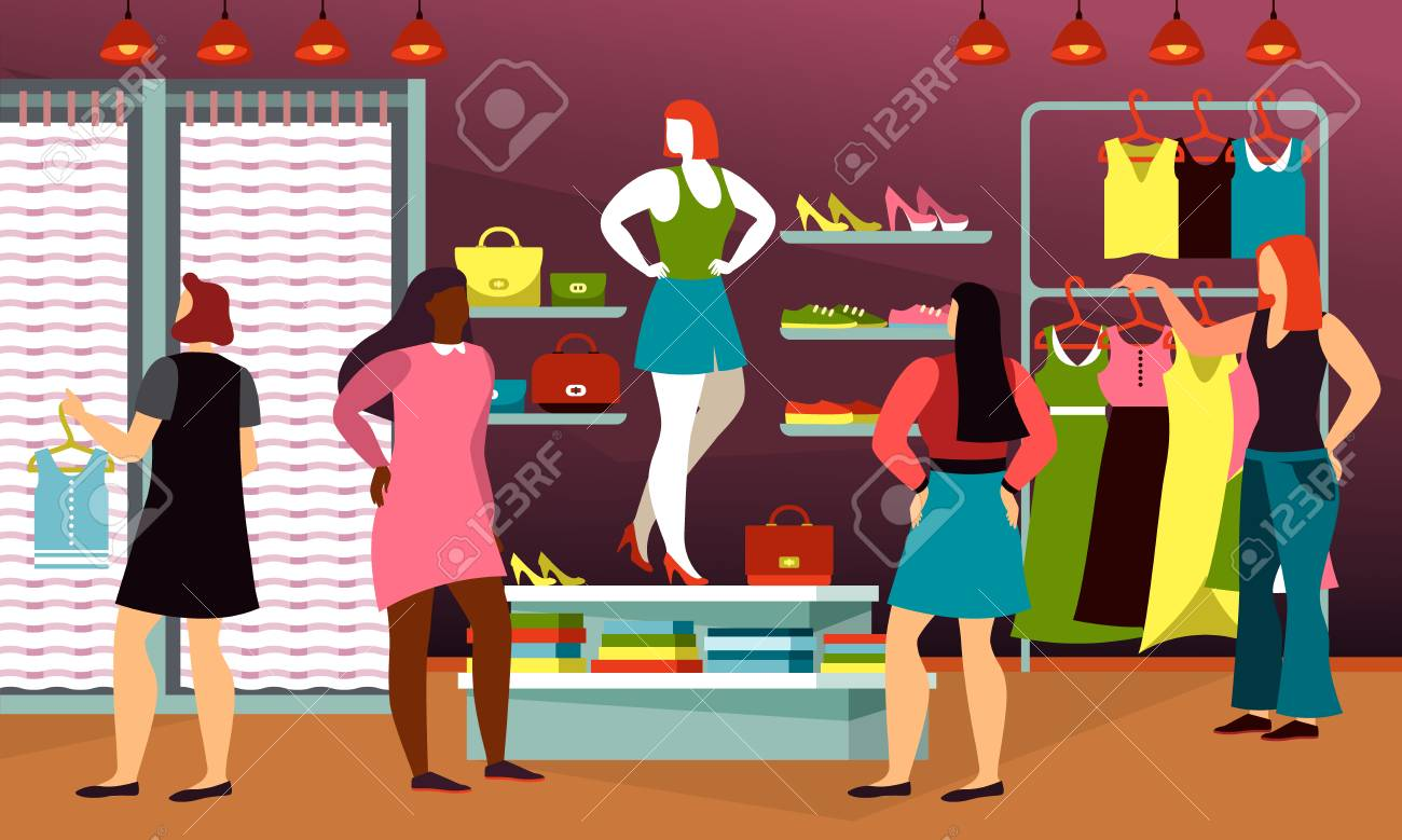 Clothing Shop With Cartoon People Or Cloth Store With Dressing Royalty Free Cliparts Vectors And Stock Illustration Image 123511469