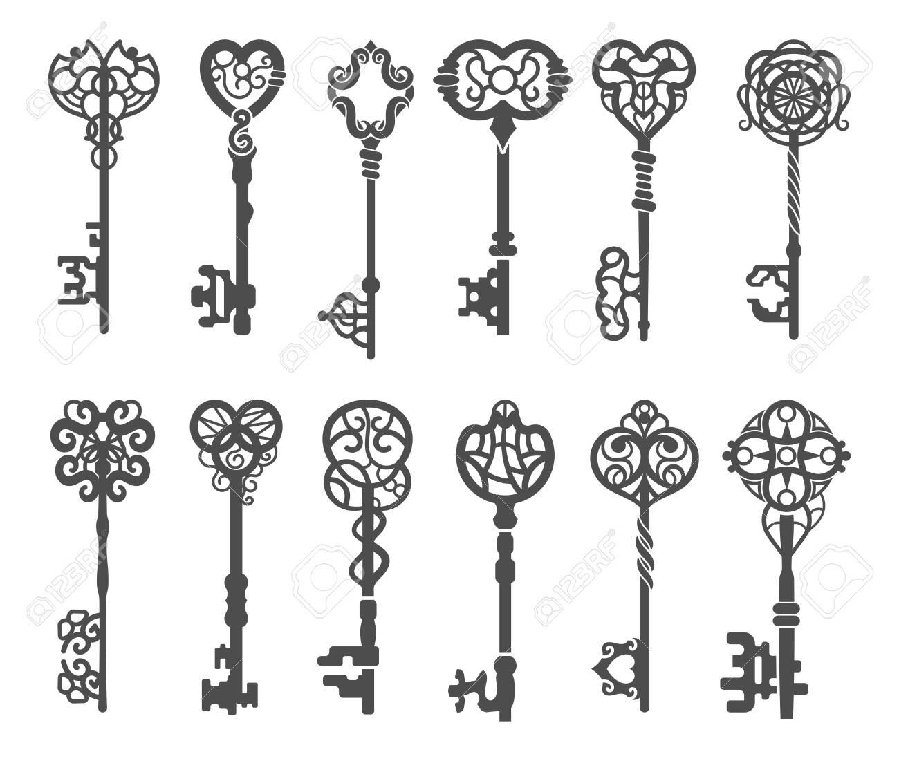Vintage key silhouette or victorian skeleton key - 138735683