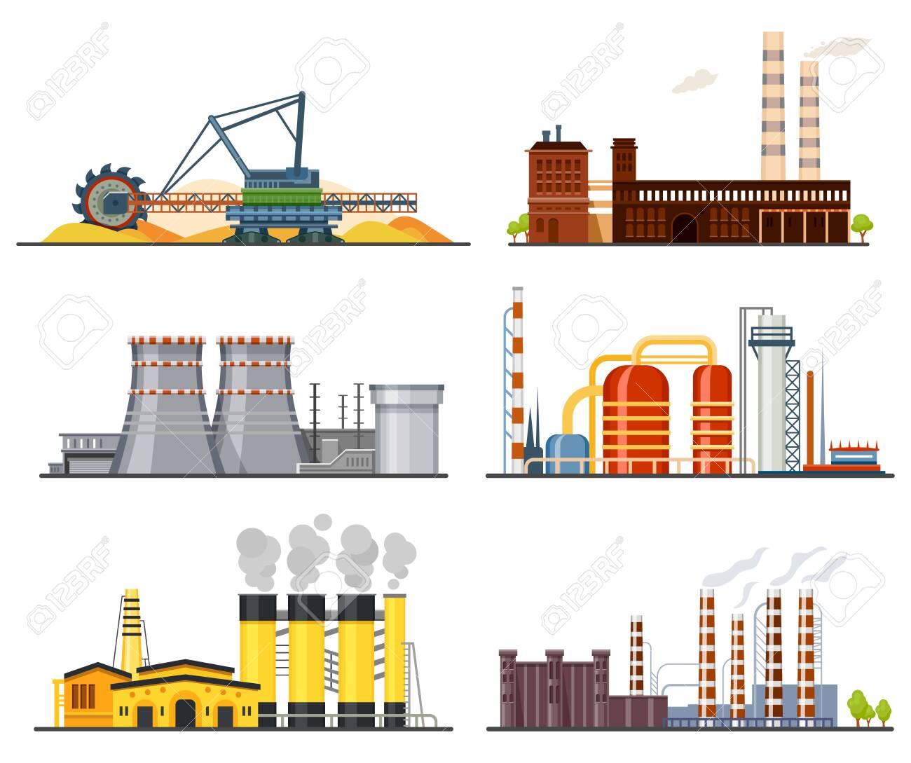 Factories or industrial plants, heavy industry set - 141307056