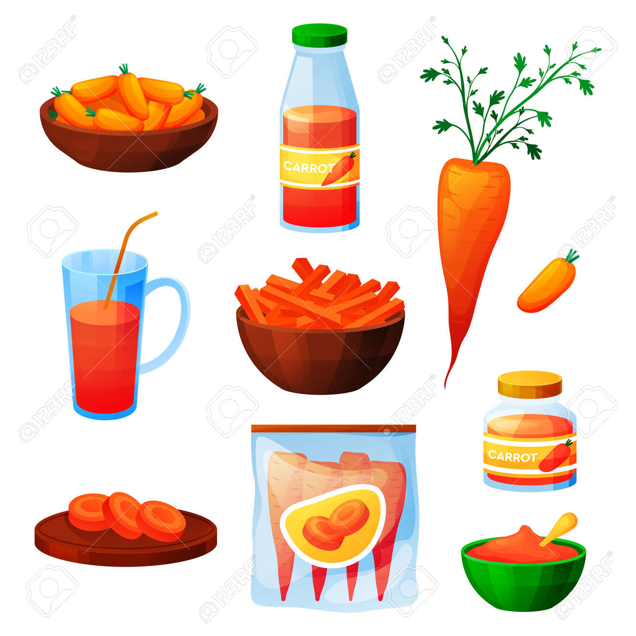 Carrot food, vegetable products, juice and eating - 165881606