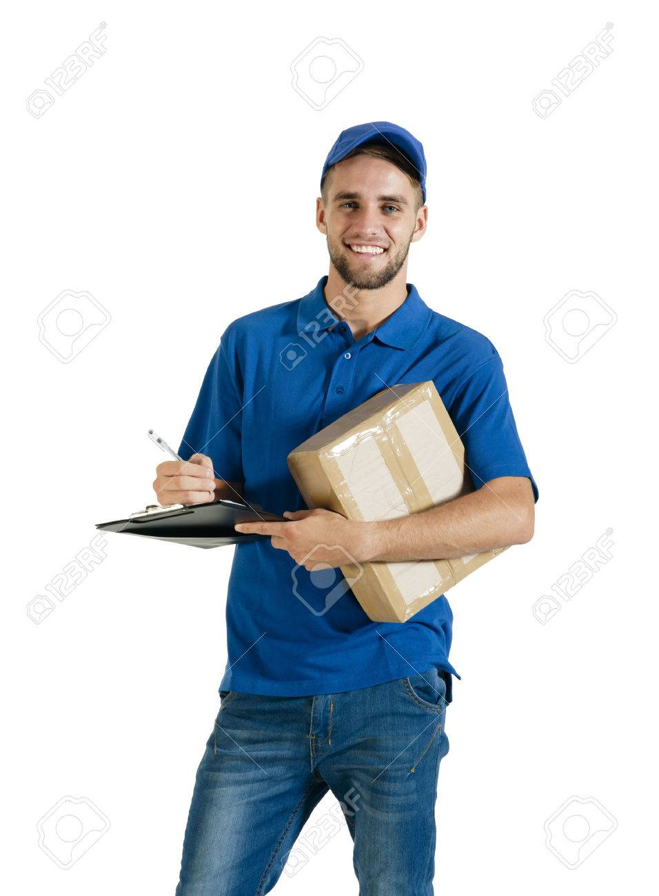 Young handsome courier making a delivery - 37246267