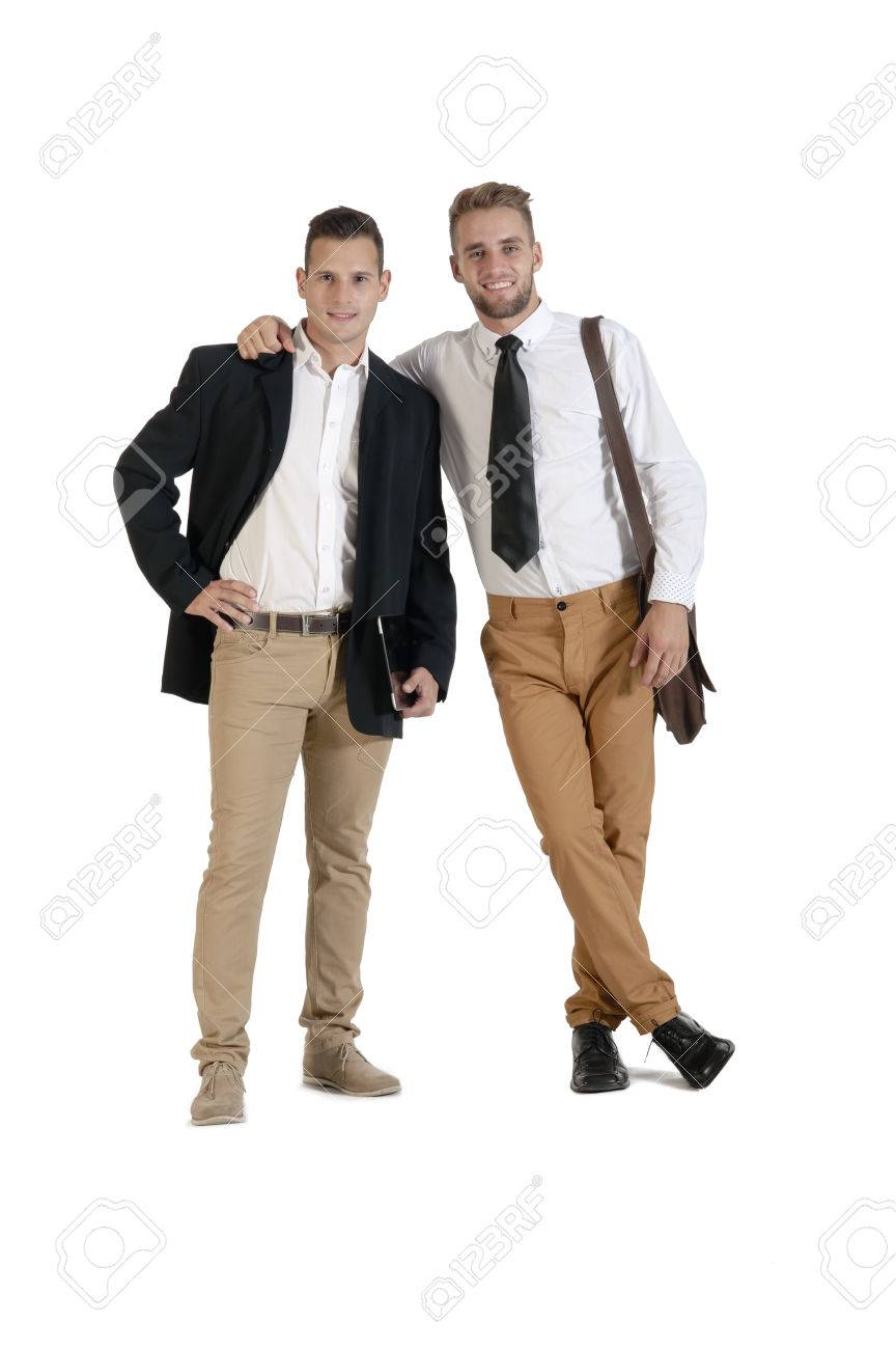 Two young handsome businessmen in agreement - 37246114