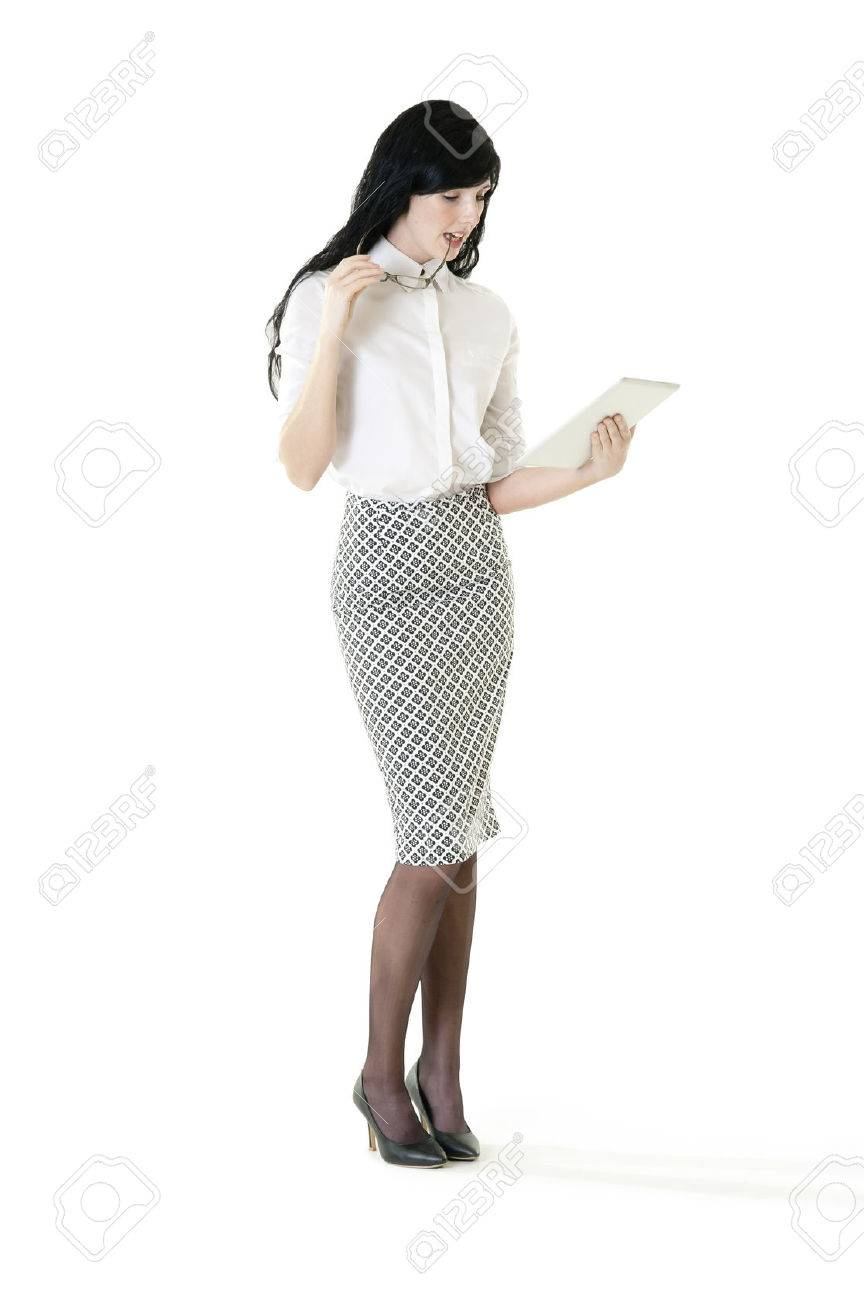 Young attractive business woman working with digital tablet - 37244685
