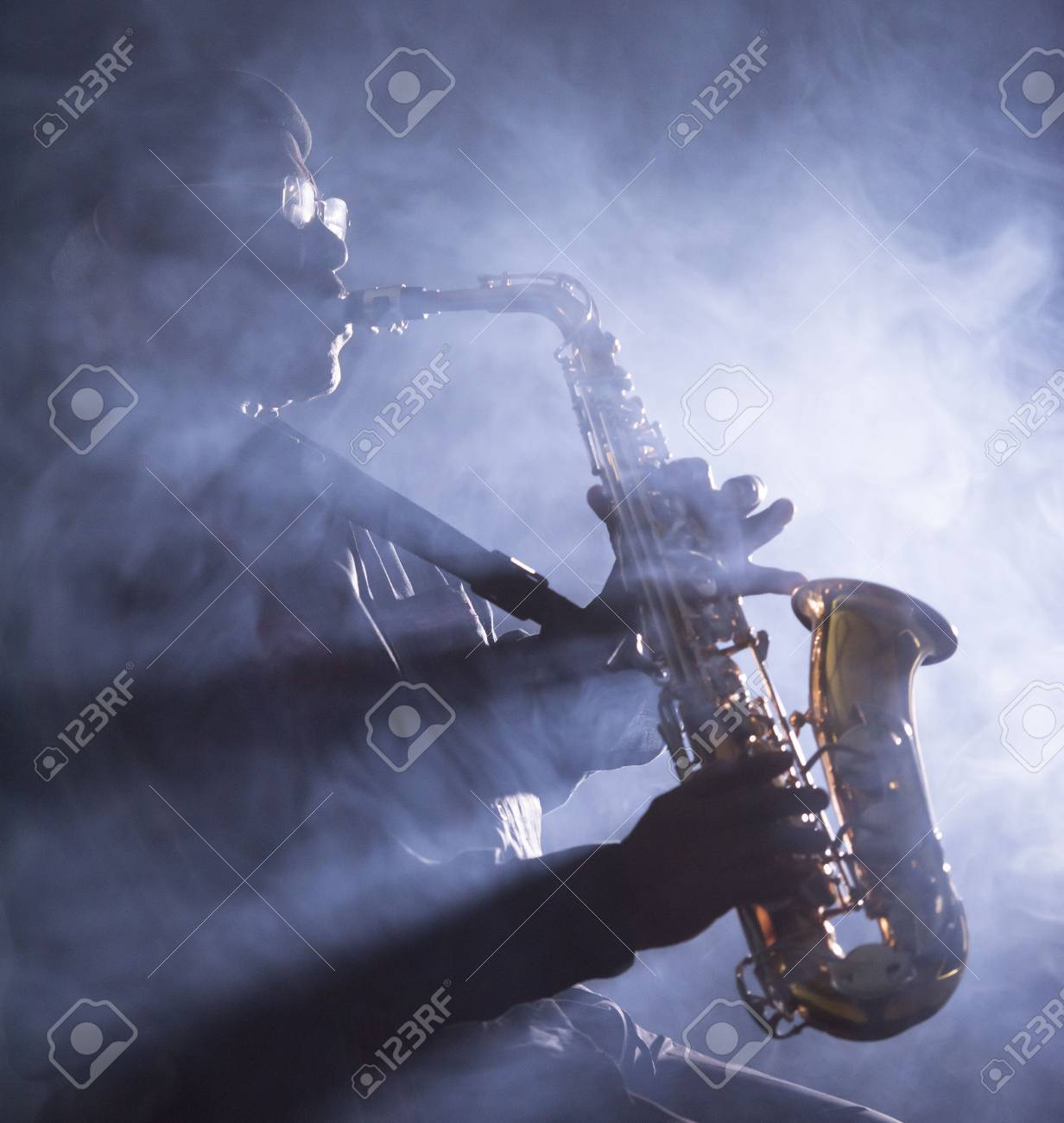 African jazz musician playing the saxophone - 38728311