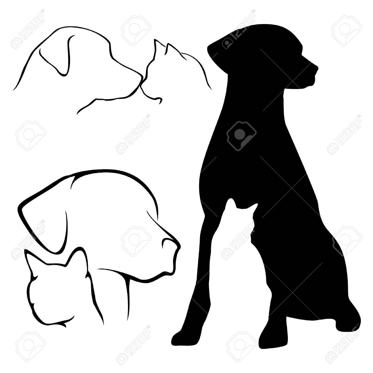 Dog & Cat Silhouettes Stock Vector - 12192229