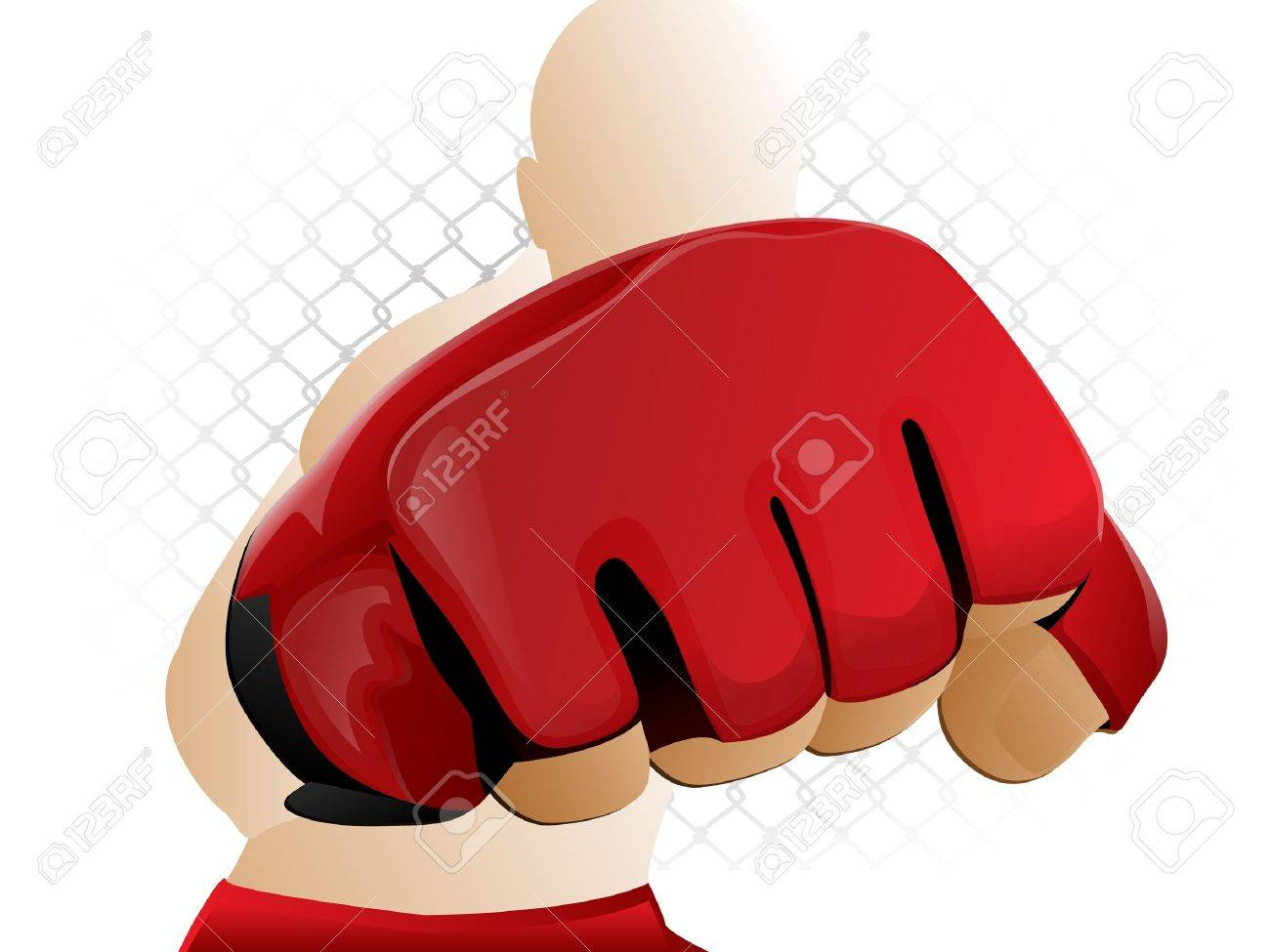Mixed Martial Arts Fighter Punching with Padded Glove Stock Vector - 12192230