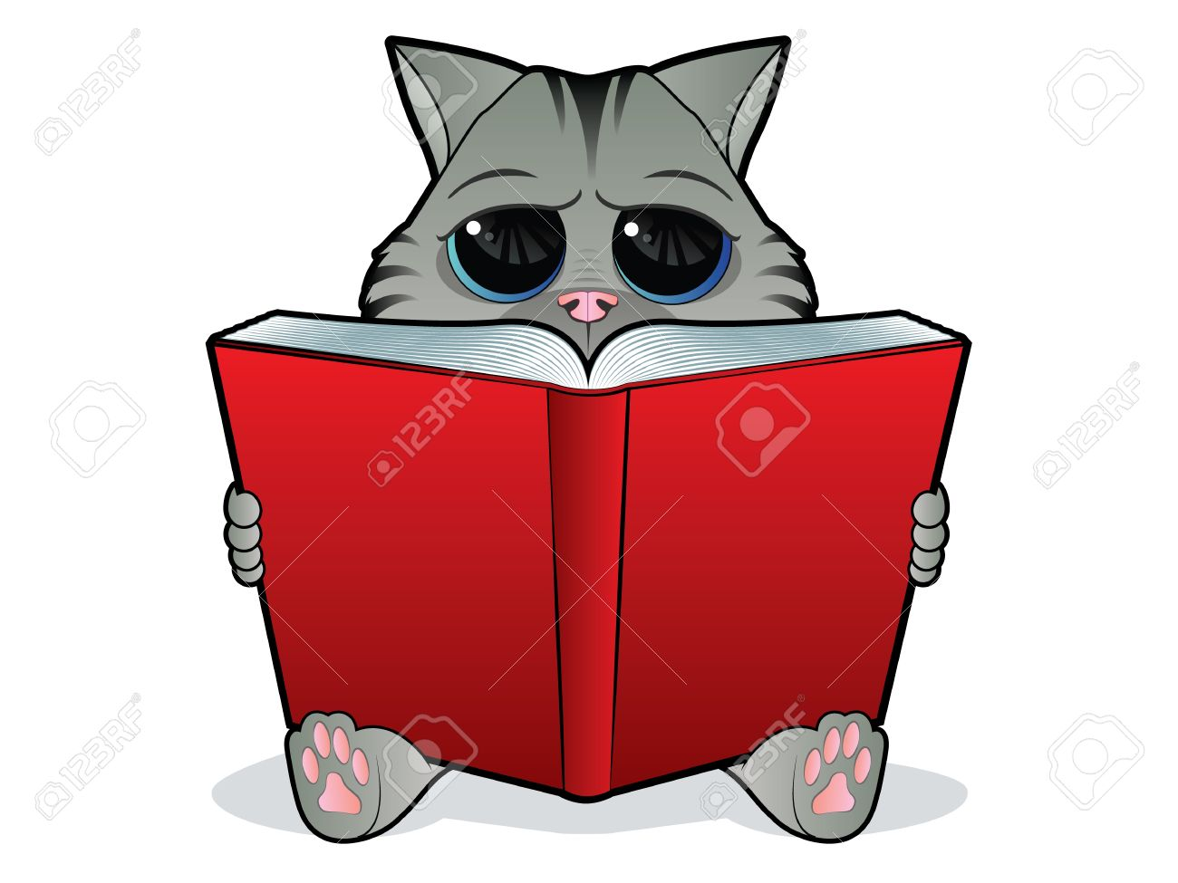 Kitten reading a large open book Stock Vector - 12491566