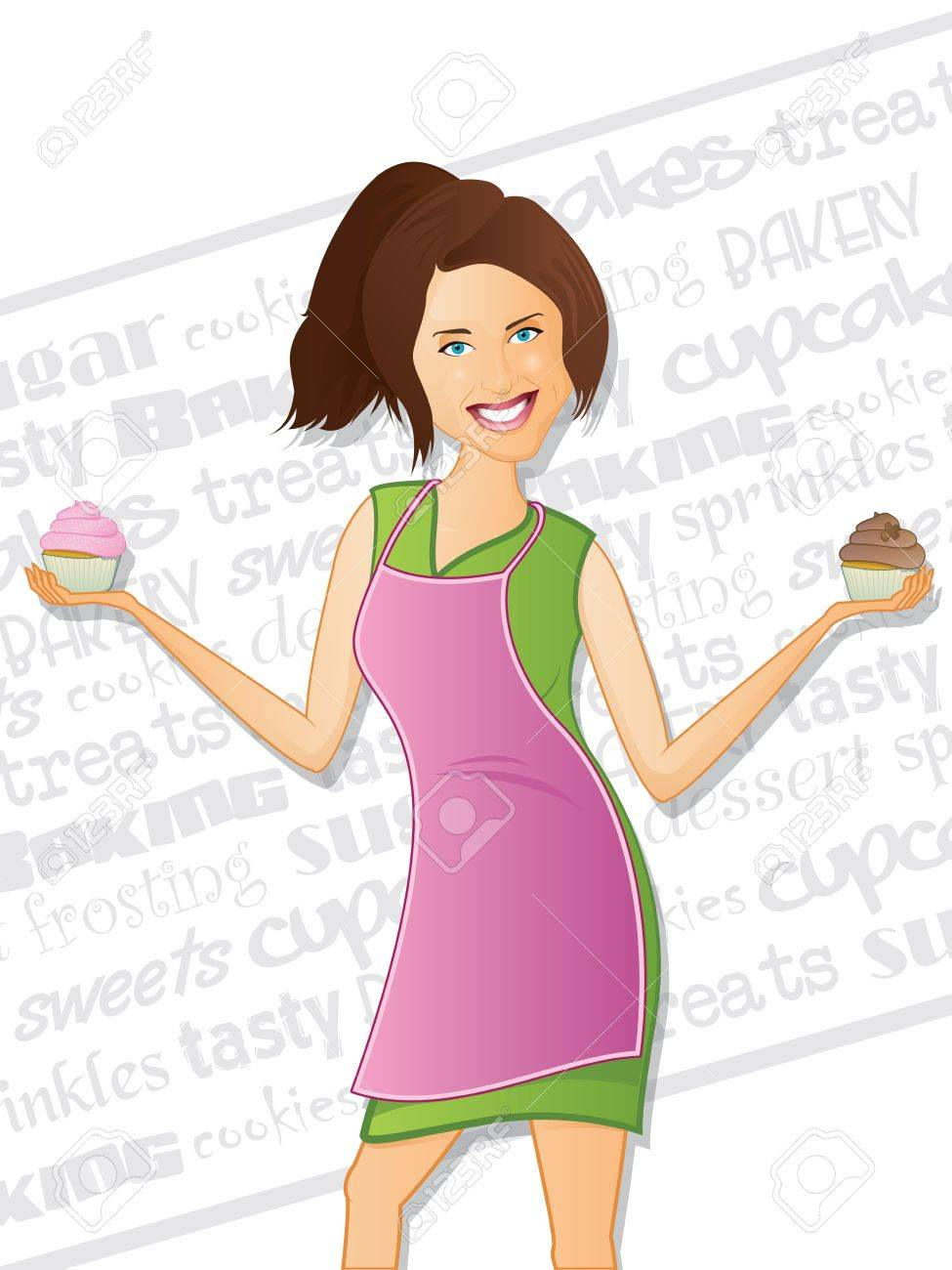 Cupcake Girl with Background Text Stock Vector - 14894263